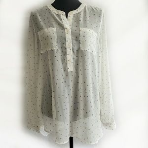 Old Navy White/Grey Star Print Sheer Blouse